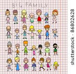 doodle members of large families | Shutterstock .eps vector #86802628