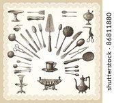 silverware   vintage engraved... | Shutterstock . vector #86811880
