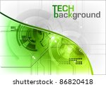 green tech background with line - stock vector