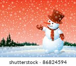 Cartoon Happy Snowman Looking...