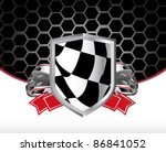 racing poster with racing flag | Shutterstock .eps vector #86841052