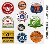 Set Of Vintage Retro Gasoline...