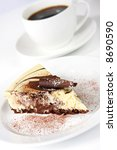 Chocolate cheesecake with a cup of coffee.  Delicious! - stock photo