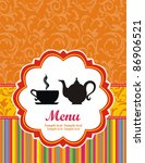 restaurant menu design. tea cup.... | Shutterstock .eps vector #86906521