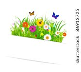 paper sticky with grass and... | Shutterstock . vector #86913725