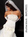 bride in white wedding dress... | Shutterstock . vector #86923021