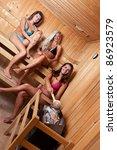 friends using sauna and making... | Shutterstock . vector #86923579