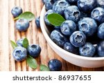 blueberries in a bowl on a... | Shutterstock . vector #86937655