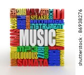 Music. The concept of the words on white isolated background. 3d - stock photo