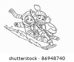 happy kids go on a sled | Shutterstock .eps vector #86948740