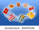 colorful wrapped present boxes...   Shutterstock . vector #86949100