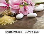 rice  confetti and flowers... | Shutterstock . vector #86995166