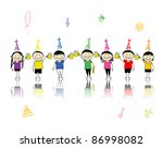 birthday party  friends with... | Shutterstock .eps vector #86998082