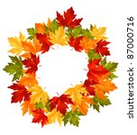 Autumn falling leaves in frame for seasonal or thanksgiving design. Rasterized version also available in gallery - stock vector