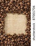 Coffee Beans On Sacking Burlap...