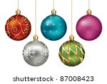christmas ornaments hanging on... | Shutterstock .eps vector #87008423