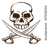 A pirate skull and crossed swords symbol - stock photo