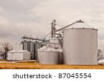 Silos On Farm Against Overcast...