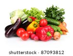 fresh vegetables isolated on... | Shutterstock . vector #87093812