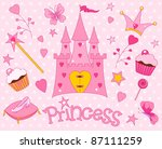 colorful set of sweet princess... | Shutterstock .eps vector #87111259