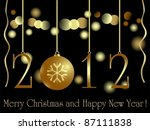 Gold 2012 Card With Xmas Baubl...