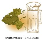 mug of beer and hop plant ... | Shutterstock . vector #87113038