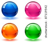 Set Of Colorful Balls On White...