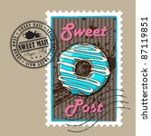 vector postage set with donut... | Shutterstock .eps vector #87119851