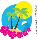 vector beach background with... | Shutterstock .eps vector #87126640