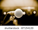 microphone in studio on a blur background - stock photo