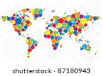 World Map Made Of Multicolored...
