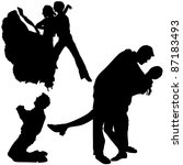 dance silhouettes   black... | Shutterstock . vector #87183493