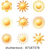 Abstract sun icon collection. Vector illustration - stock vector