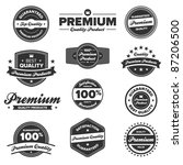 set of 12 retro premium quality ... | Shutterstock .eps vector #87206500
