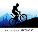mountain biking vector   Shutterstock .eps vector #87226651