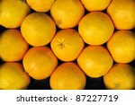 oranges at a greengrocer at a food market - stock photo