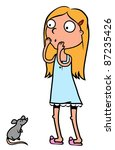 young woman or a girl scared of ... | Shutterstock .eps vector #87235426