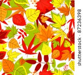 Autumn falling leaves seamless background for seasonal design. Rasterized version also available in gallery - stock vector
