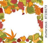 Autumn falling leaves frame for thanksgiving or seasonal design. Rasterized version also available in gallery - stock vector