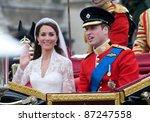 Duke & Duchess of Cambridge (Prince William and Kate Middleton) leaving Westminster Abbey following their royal wedding. April 29, 2011  London, UK Picture: Paul Smith / Featureflash - stock photo