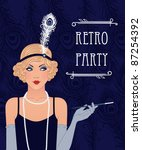 Blue Retro Party Invitation...