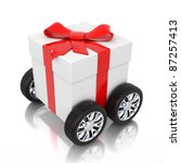 3d gift on wheels | Shutterstock . vector #87257413