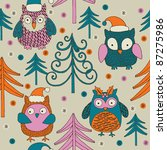 christmas forest with cute owls