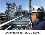 refinery worker with large... | Shutterstock . vector #87295696