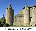 Carcassonne a famous medieval city in Southern France. Carcassonne is the biggest fortress in Europe. This is an Unesco World Heritage site. - stock photo