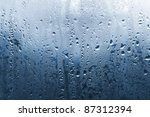 natural water drop on glass - stock photo