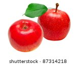 red apple isolated on white...   Shutterstock . vector #87314218