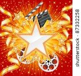 golden star with golden film ...   Shutterstock .eps vector #87332258