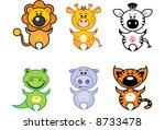 funny animal set 1 4   Shutterstock .eps vector #8733478