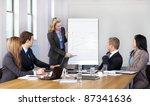 blonde female present graph on... | Shutterstock . vector #87341636